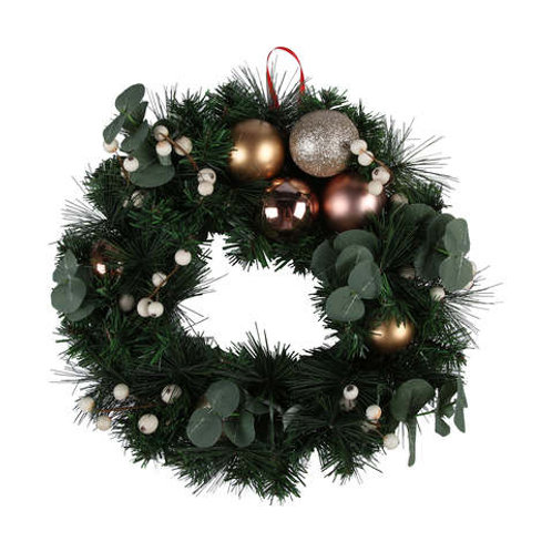 Aussie Christmas Wreath with Rose Gold Balls