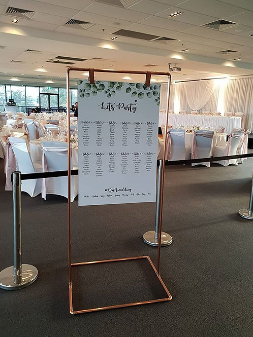 Rose Gold / Copper Display Frame Seating Chart
