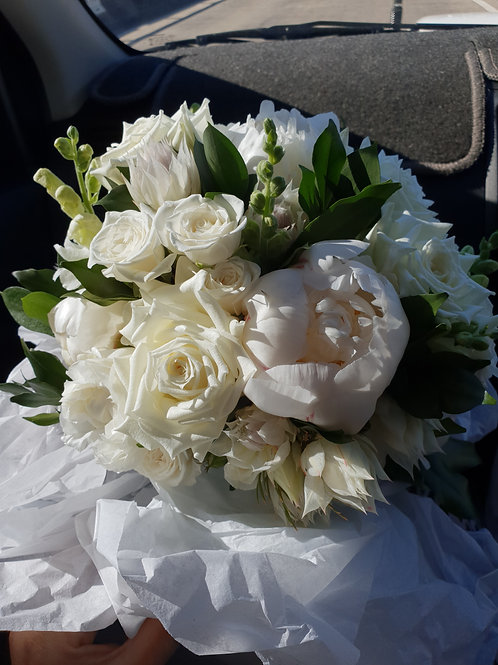 Full White & Green Bridal Bouquet