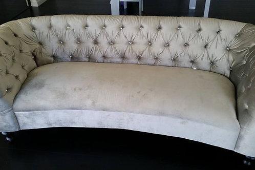 Silver Velvet Diamond Button Lounge