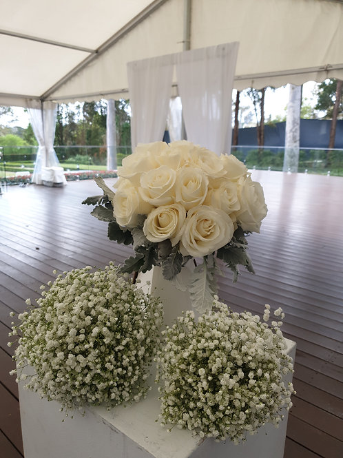 White Rose Bouquet with 2 x Babys Breath Bouquets