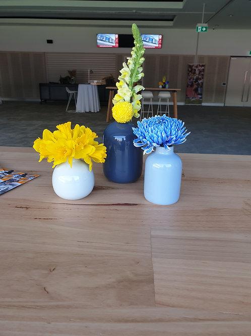 Trio of Blue Vases