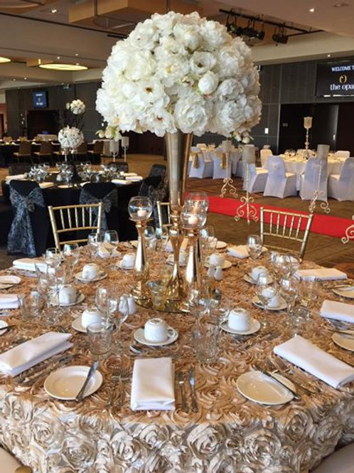 Champagne / Gold Rosette Table Cloth