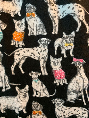 Super Snuggle Flannel Fabric Sketched Dogs in Sweaters