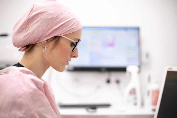 Calot de bloc chirurgical jacquard pink