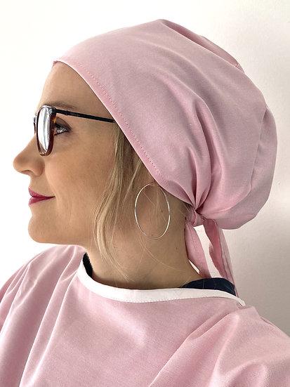 Calot de bloc chirurgical Oxford rose cheveux attaches