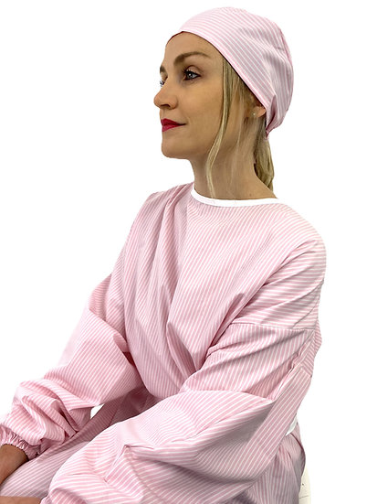 Surblouse coton rayée rose
