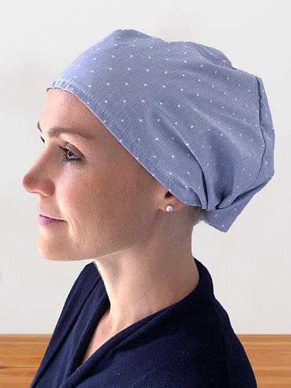 Calot de bloc chirurgical blue jacquard special cheveux longs