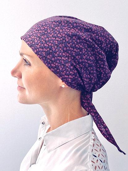 Calot de bloc chirurgical special cheveux longs fleurs violettes