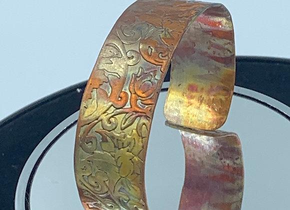 Copper cuff with flame patina