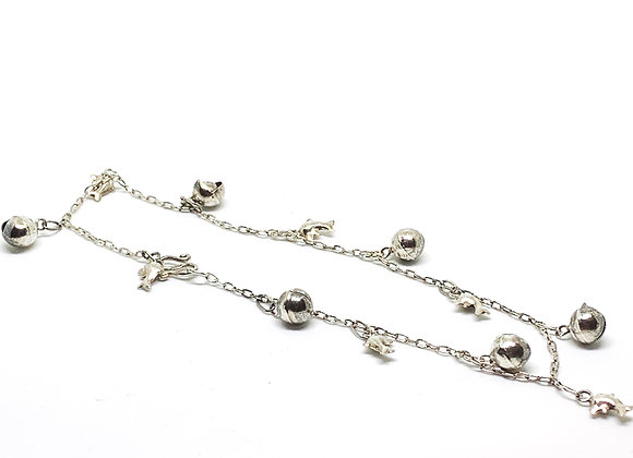 Dolphins and balls sterling silver anklet