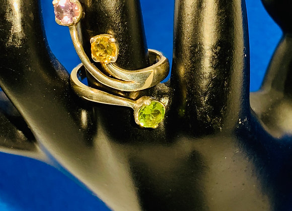 Peridot and citron sterling silver ring