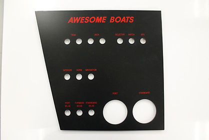 A black boat panel on a white background with red text.