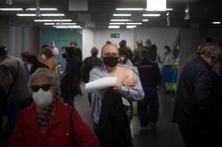Vacunación el el WiZink Center en Madrid.