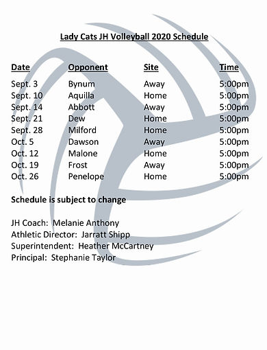 JH Lady Cats Volleyball 2020 Schedulepg.