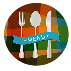 Silverware with menu clipart