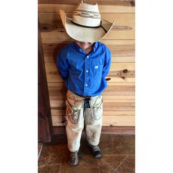 Our little _cinchjeans wearing Cowboy Bodie!_He wakes up ready to get outside. His cinch shirts are