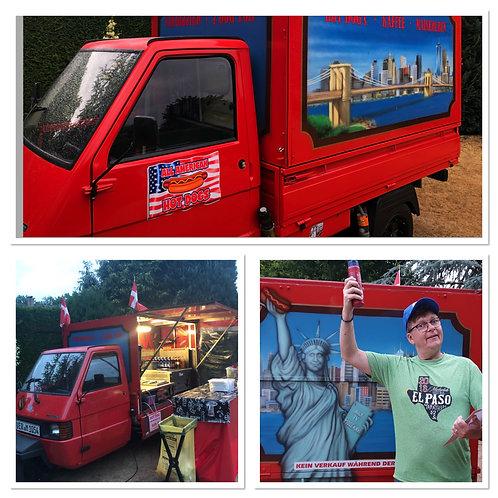 Hot Dog Food Truck Ape mit Social Media Event inkl. 100 Hot Dogs