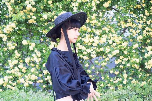 frame pullover blouse/black  navy cotton100