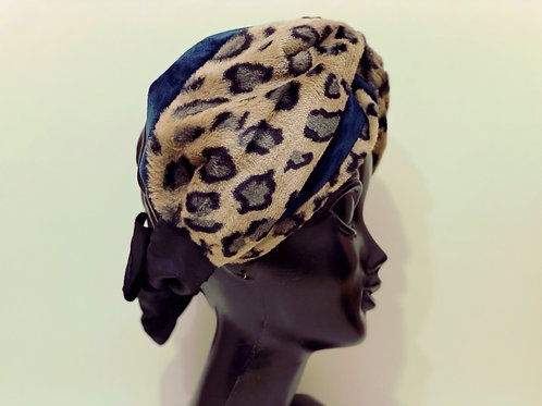 leopard×velours turban