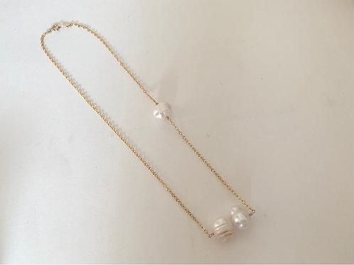 baroque balance necklace/14k gf