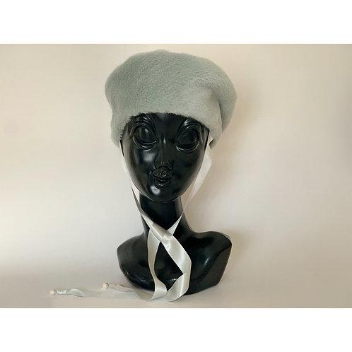 eco fur béret/ silk & pearl ribbon