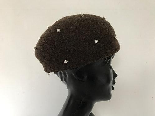Swarovski crystal beret/wool brown