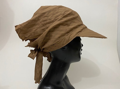 Tuck Pleats Scarf Cap /typewriter beige brown
