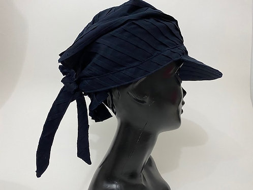 Tuck Pleats Scarf Cap /typewriter dark navy