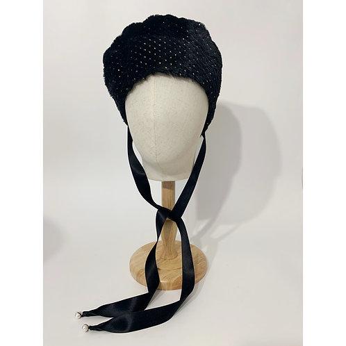 eco fur béret/strawberry noir silk ribbon&pearl