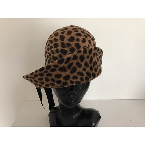 Rabbit fur Leopard hat