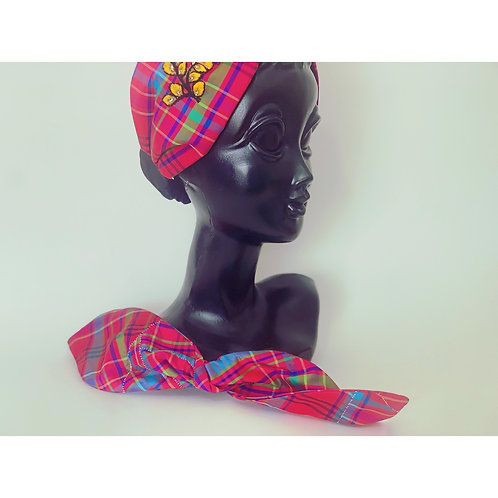 3way silk check turban