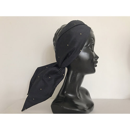 silk stroh turban/black×gold