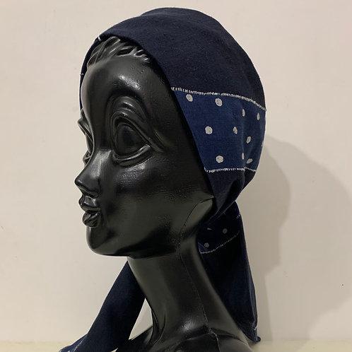 dot&navy combination turban