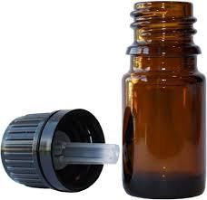 Bottle Glass Amber  - Drip Insert & Top - 5 ml