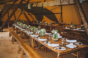 Teepee Tent Hire Rustic Table & Benches