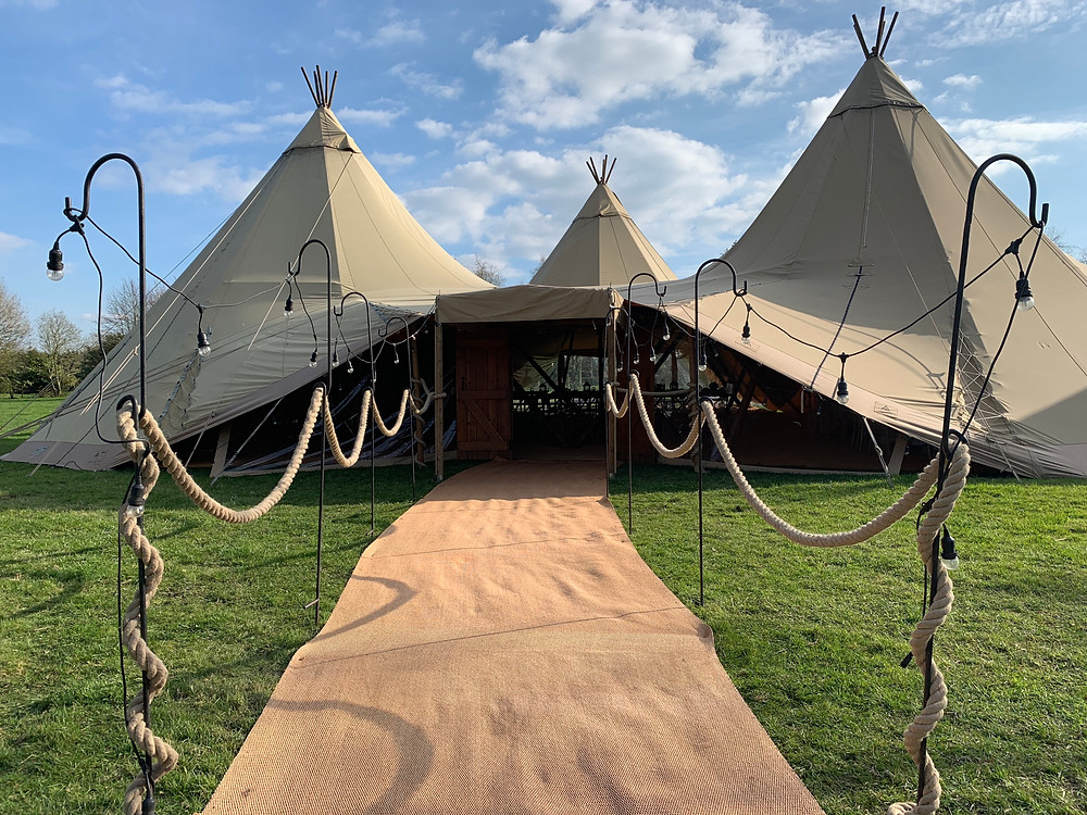 3 Giant Teepee's with Avenue, Wooden Doors, Window Blanking Panels, Festoon and Matted Walkway