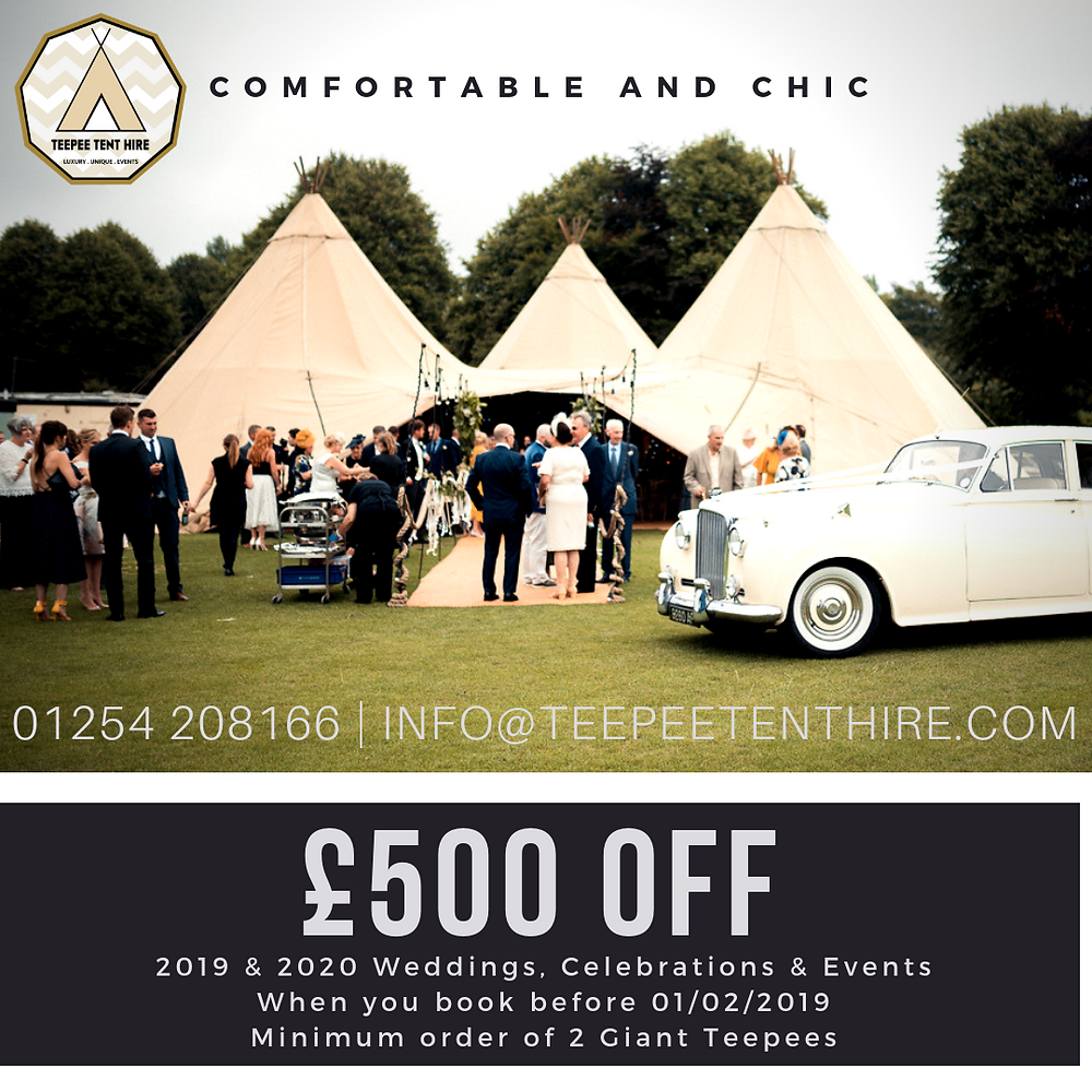 Teepee Tent Hire | £500 OFF | January 2019 Offer
