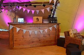 Teepee Tent Hire - Rustic Wooden Bar
