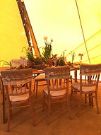 Teepee Tent Hire - Rustic Wooden Table and Cheltenham Chairs