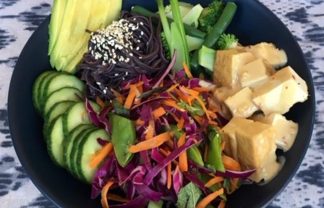 Satay tofu & sesame rice noodle bowl