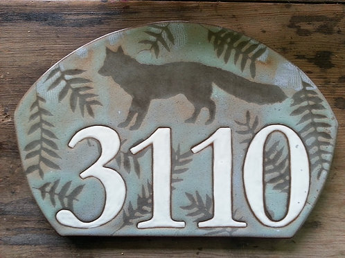 Graystone House Number with Fox