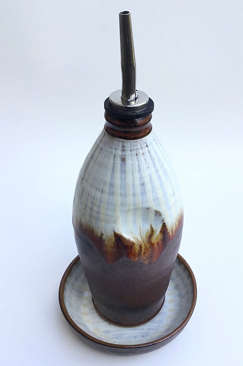 Oil Bottle with Dipping Dish (creamy stripes and coppery red glaze)