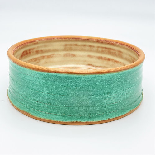Handcrafted Stoneware Pet Bowl (aged green)