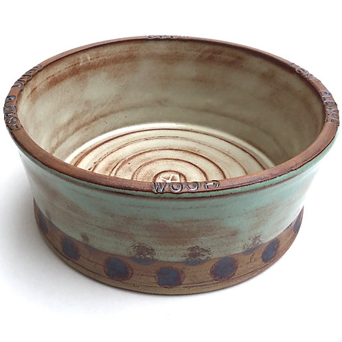 Handcrafted Stoneware Dog Bowl (green)