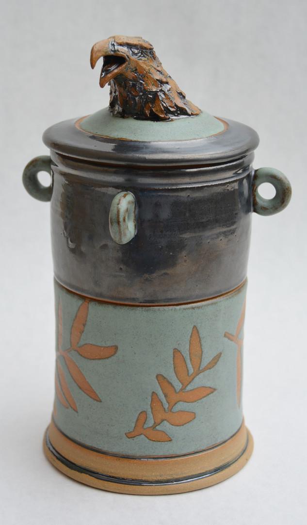 Hawk Covered Jar