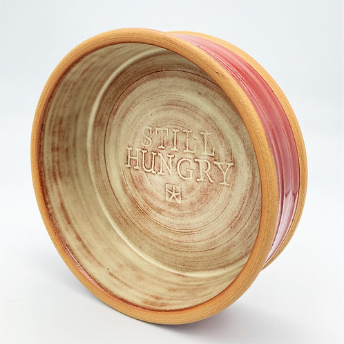 Handcrafted Stoneware Pet Bowl (dark red and cream)