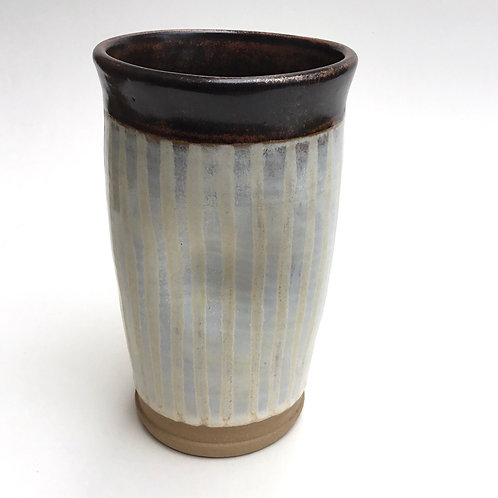 Tall Tumbler (creamy stripes and coppery red)