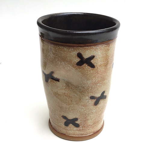Tall Tumbler (cappuccino cream and coppery red with flowers)