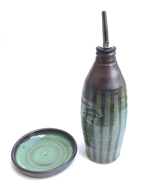 Oil Bottle with Dipping Dish (tall With leaf and bark glaze)
